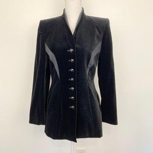 Escada Couture cotton velvet blazer Black jeweled